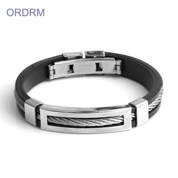 Custom Cheap Stainless Steel Silicone Black Bracelet