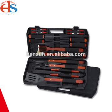 Wooden Handle BBQ Utensil Set with Portable Case