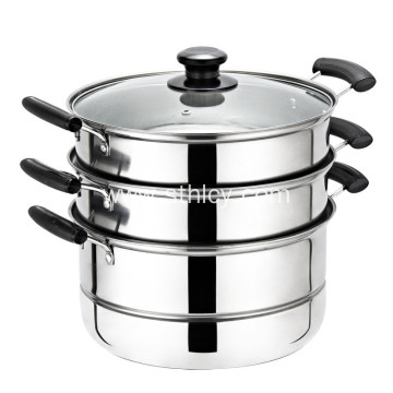 Multifunctional 3-ply Stainless Steel Uncoated Steamer Pot