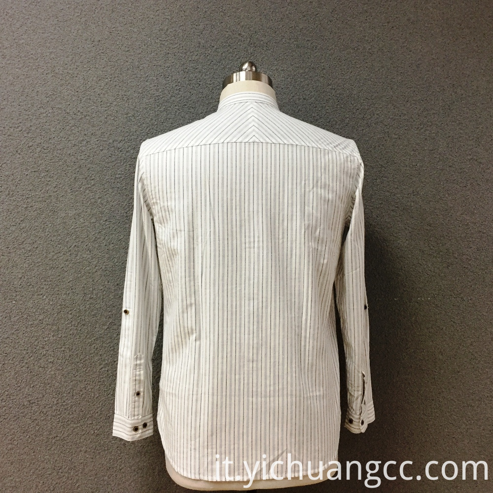 Men's cotton white yarn dyed long sleeves shirt