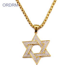 Jewish Rhinestone Gold Star Of David Necklace