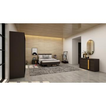 Dark Gray Modern Bedroom Set with Sliding Wadrobe
