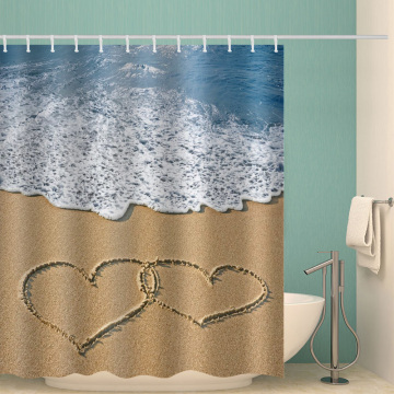 Sea Beach with Two Love Hearts Waterproof Shower Curtain Ocean Romantic Bathroom Decor