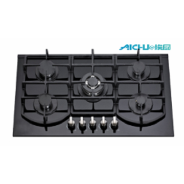 5 Burners Built In Tempered Glass Gas Stove