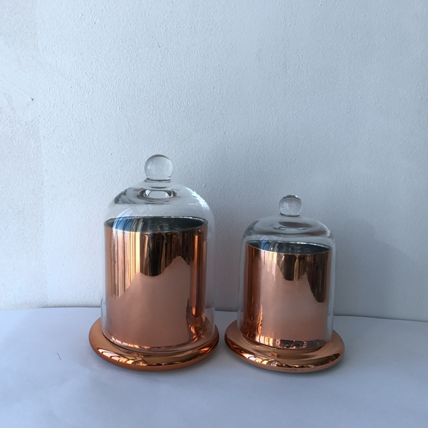 Copper glass candle jar