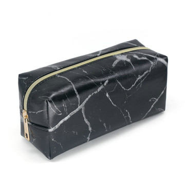 New Marble Leather Strip Black Girls Makeup Bag
