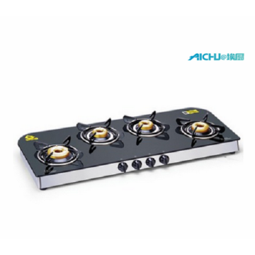 Glen 4 Forged Brass Burners Glass Cooktop