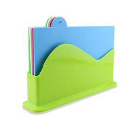4PCS Plastic Index Color Chopping Board With Stand