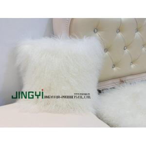 Goods high definition for Mongolian Fur Pillow Curly Mongolian Lamb Fur Pillow Case export to Kiribati Factories