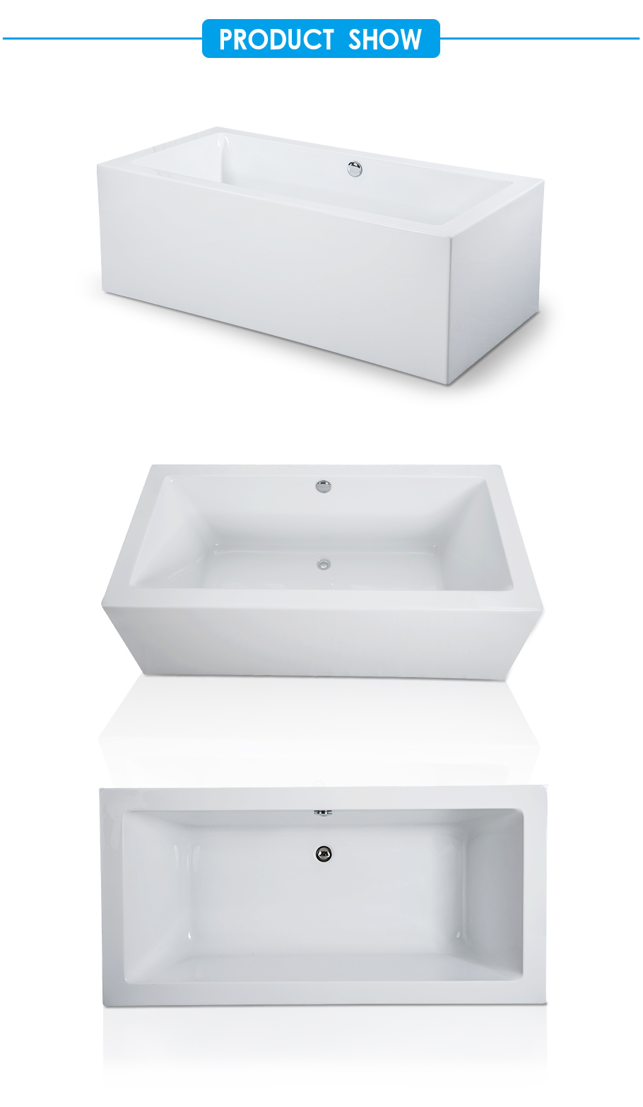 Melody Center Drain Soaking Tub in White
