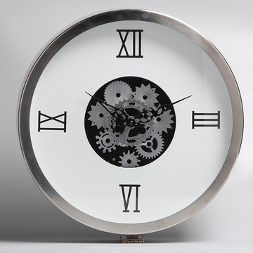 White Metal Hanging Clocks with Moving Gear