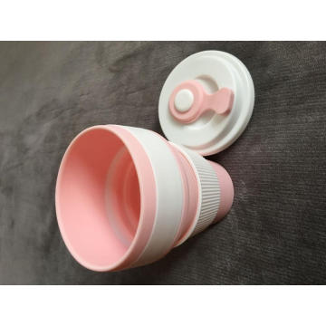 Silicone two-color folding portable water cup with lid