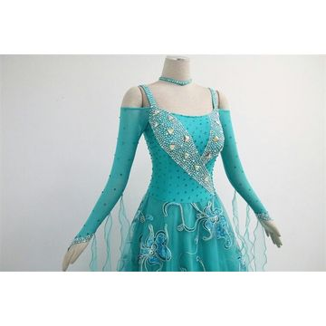 Green long sleeves ballroom dresses for sale