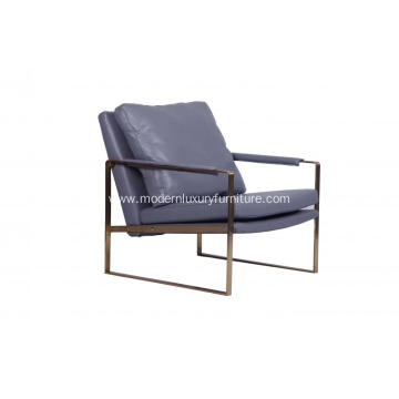 Modern Grey Leather Gold Zara Chair