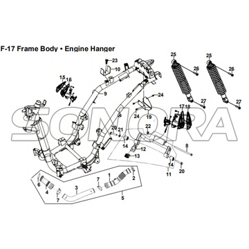 F-17 Frame Body Engine Hanger for XS175T SYMPHONY ST 200i Spare Part Top Quality