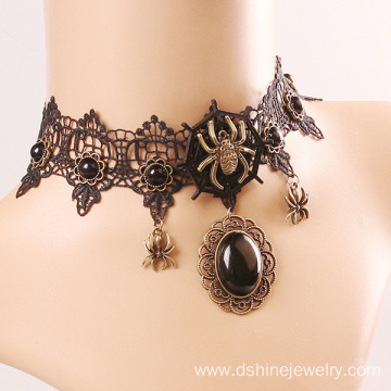 Lace Necklet Gothic Style Spider Pattern Necklace