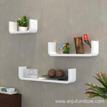 MDF Floating Wall Shelf - Set of 3 U Shape Round Corner MDF Wall Racks - White