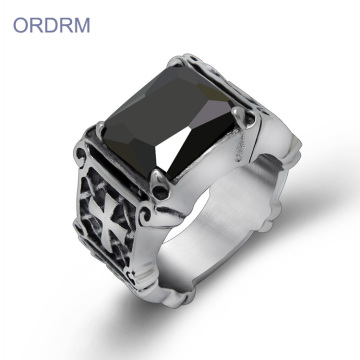 Wholesale Punk Black Stone Men's Ring With Cross