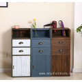 Wholesale cheap price brown wooden barber cabinet antique haircut console table