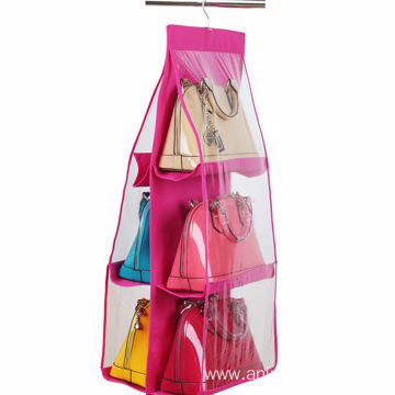 Hanging Purse Organizer, Breathable Nonwoven Handbag Organizer, 8 Easy Access Clear Vinyl Pockets