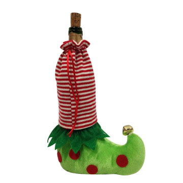 Christmas magic elf leg wine bottle cover bag