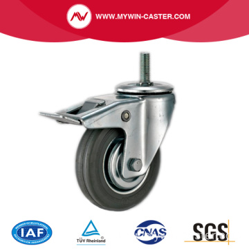 Braked Threaded Stem Swivel Medium Duty Rubber Castors