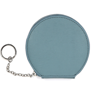 Solid color round design wallet keychain purse