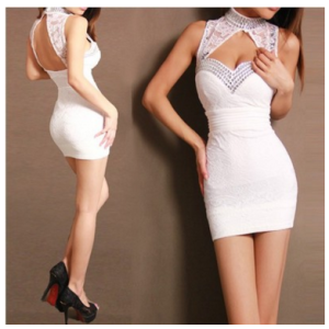 Chinese wind Tangzhuang Qipao Halter improved fashion low cut sexy lace dress bag hip Club