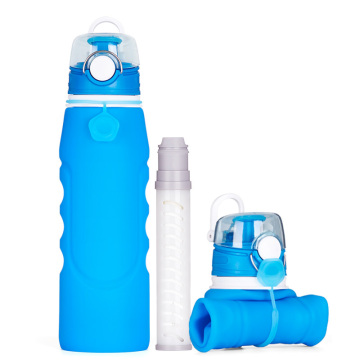 Outdoor Training Sport Filter Silicone Water Bottle