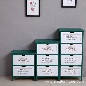 White Green color design 2 drawers wooden cabinet