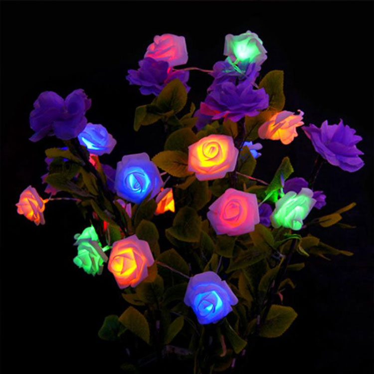 rose flower pvc twinkle led string lights