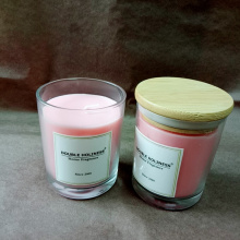 Relax Glass Pink Soy Candles Natural Wooden Lid