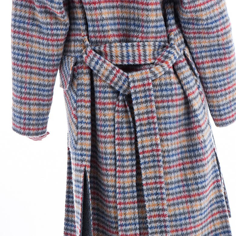 Fashion Plaid cashmere overcoat back