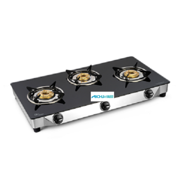 Astra 3 Brass Burners Glass Top Gas Stove
