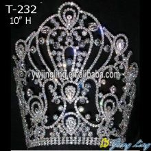 Holiday sales for Gold Pageant Crowns Wholesale 10 Inch Large Crowns T-232 export to Spain Factory