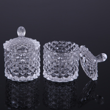 Elegant Diamond Crystal Glass Candy Box Cake Jar