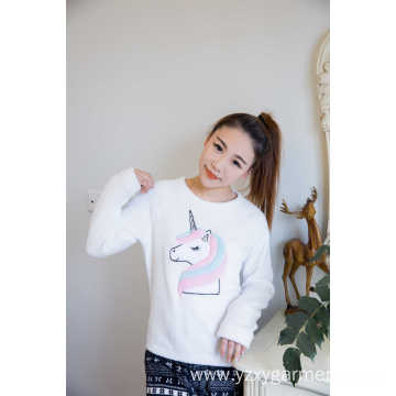 White coral fleece with unicorn embroidery