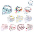 Bandana Drool Bibs For Toddlers Girls - 10P