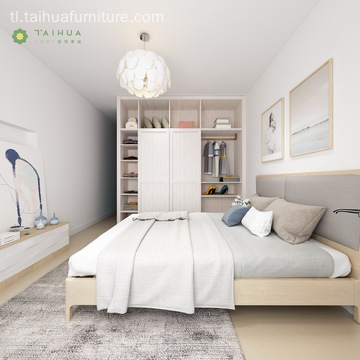 Mga Contemporary na Muwebles na Melamine Bedroom Sa Grey Cushion