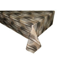 Leaf Stripe Taupe PVC Vinyl Tablecloth