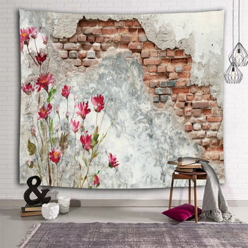 Broken Brick Wall Tapestry Red Flower Countryside Tapestry Wall Hanging for Livingroom Bedroom Dorm Home Decor