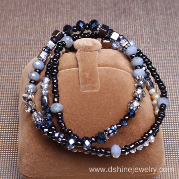 Handmade Three Layers Glass Crystal Faceted Beads Bracelet
