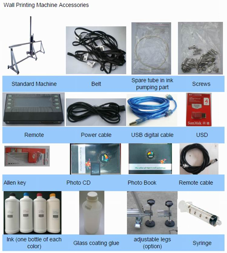Vertical Wall printing machine Accessories