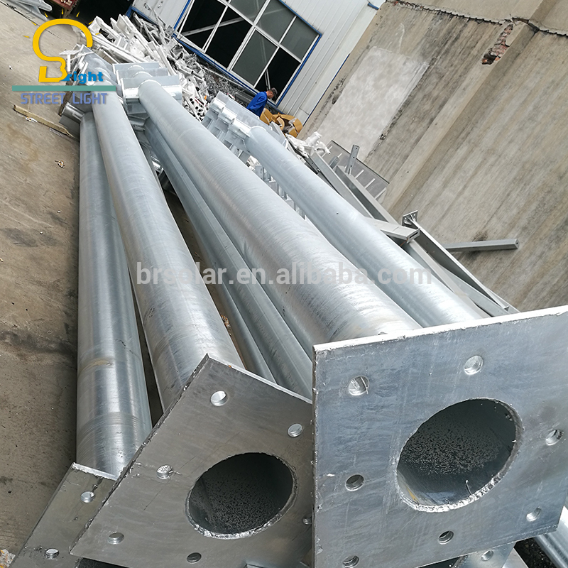 Hot-dip Galvanized Steel Street Light Pole With Arm