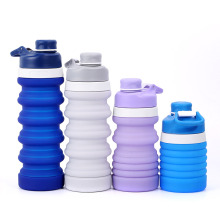 Silicone outdoor retractable water bottles