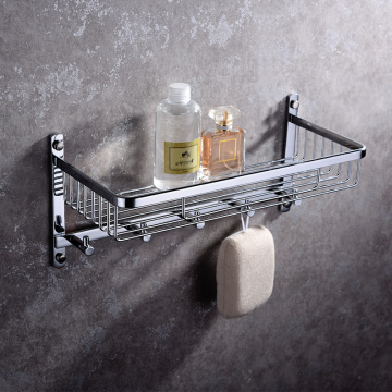 Full Copper Rectangular Single-layer Shower Rack With Hook