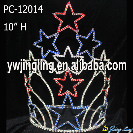 large cheap custom colored patriotic star crowns PC-12014