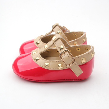 Cherry Red Rivet Baby Girl Party Dress Shoes