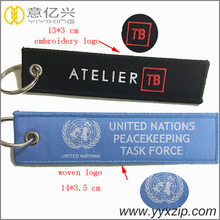 double sides different logo jacquard woven key ring