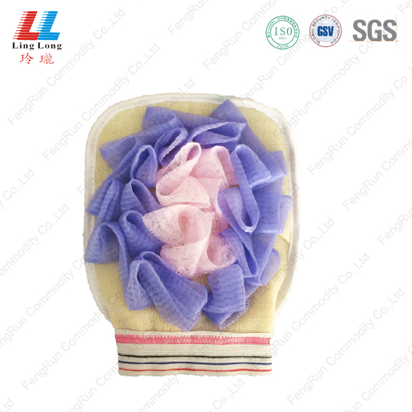Gloves exfoliating shower sponge pad